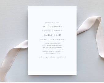 Bridal Shower Invitation / Botanical Minimalist Invitation Suite / Minimalist, Chic, Outdoor Wedding / #1141