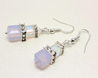Swarovski Crystal Cube Earrings, Blush Pink, Rosewater Opal, White Opal, Sterling Silver, Bridal Earrings, Wedding, Bridesmaid Earrings