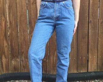 "Vintage Tommy Hilfiger Blue Jeans With Elastic ""Hilfiger"" Trim Along the Top Size ""8"""