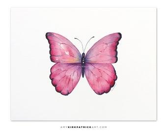 Pink Butterfly Painting, Butterfly Print, Original Pink Butterfly Watercolor, Butterfly Greeting Cards, 105 Pink Celestina Butterfly