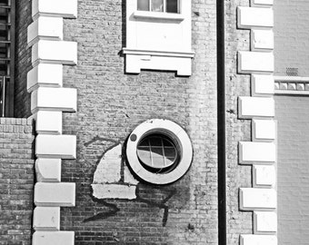 Graffiti Print, London Street Art, black and white photography, Stik, Fine Art Print, Contemporary Wall Art, Urban Decor, Architecture
