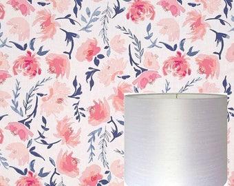 Flowers Drum Lampshade Pink Floral Lamp Shade Kids Room Nursery  Lampshade Girl