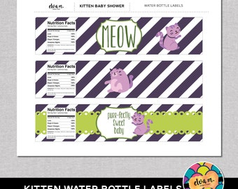 Kitten Baby Shower Water Bottle Labels/Wraps- DIY Water Bottle Labels *INSTANT DOWNLOAD*