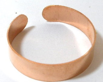 Copper cuff bracelet blanks, 1/2 inch x 6 inch, UNFINISHED for flame painting, adding patina, enameling, etching blank