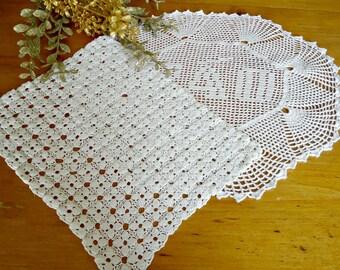 2 Doilies Doily Crocheted Doily Large White Vintage Doilies  D19