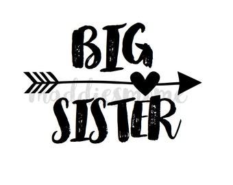 Big Sister DIY Iron on T Shirt Transfer Black Tribal Arrow Heart (Big Sister Arrow Black)