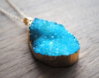 "Long Druzy Necklace, Aqua Blue Druse Crystal with 18 karat Gold Edge on 30"" 14k Delicate Gold Filled Chain, Druzy Necklace"