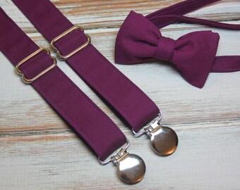 Berry Plum Purple Bow Tie and Suspenders set Similar Color to David's Bridal Raspberry ( Men, boys, baby, toddler, infant Suspender Bowtie )