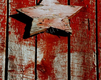 Vintage Red Barn Star Original Photograph on Gallery Wrapped Canvas