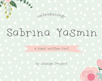 Sabrina Yasmin Digital font hand written font personal and commercial use digital fonts font download