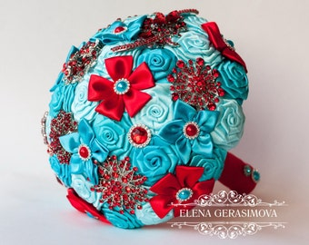 Brooch Bouquet. Turquoise blue red Fabric Bouquet, Unique Wedding Bridal Bouquet