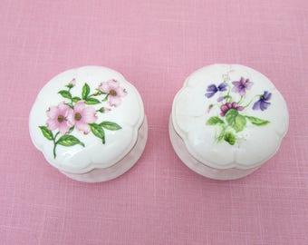 "Lefton Bone China Trinket Boxes - 2.5"" Ring Boxes - Pink Dogwood and Violas - 1980s"