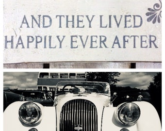 And They Lived Happily Ever After. Wedding Car Sign. Wedding Decor. Wedding Gift. Wedding Sign. Handpainted Sign. Love. Love Sign.