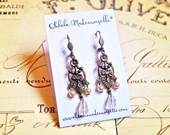 Vintage inspired earrings glass beads - vintage earrings, gatsby earrings, retro earring, downton abbey earrings