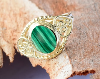Malachite ring-Statement Rings-Malachite ring vintage-Gold Ring-Women Jewelry-For her-Holidays gift-FREE SHIPPING-Fashion ring-Ring for men