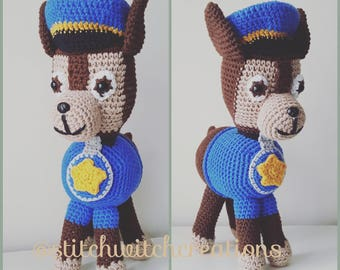 CHASE - Paw Patrol Inspired Crochet Pattern - Amigurumi PDF Instant Download
