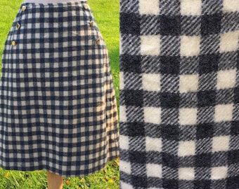 Buttons Down Mod 60s Gingham Skirt 26 Waist