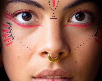 septum rings, gold septum ring, moon septum, gold ethnic septum, body piercing , tribal septum, 14k solid gold Indian septum, gold nose ring