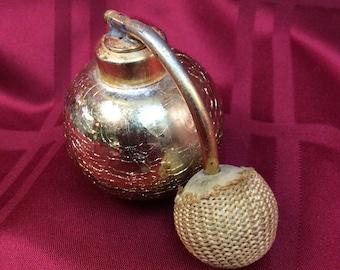 c.1940's DeVilbiss Shattered Glass Perfume Atomizer Bottle Goldtone Top