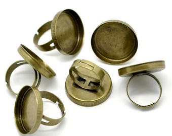 support 5 rings in copper color bronze, 25 mm cabochon