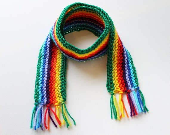 Green Rainbow Pixie Scarf - Childs Rainbow Scarf - Colourful Winter Scarves for Children • Rainbow scarves make gorgeous gifts for kids!