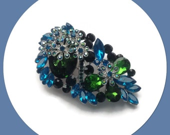Blue Green Crystals Brooch Vintage Look Women's Fashion Accessory Giftboxed