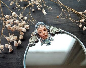 "collector's mirror ""Syreni"" mirror, sculpture, miniature, vintage, boudoir, art Nouveau, accessories, miniature, face, mermaid"