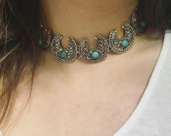 Silver Bohemian Crescent Moon Turquoise Choker