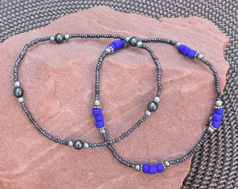 Metallic Blue Stretch Anklet