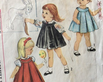 Simplicity 4713 girls dress or jumper and blouse size 2 vintage 1960's sewing pattern