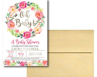Watercolor Floral Baby Shower Invitations (100)