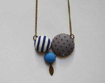Brass necklace and blue vintage liberty fabric