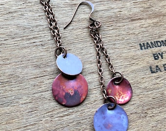 Copper Patina Dangle Disc Earrings - hand forged turquoise or lavender round drops