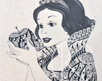 Original Pen & Ink Drawing of Ornate Tribal Disney Princess Inspired Snow White