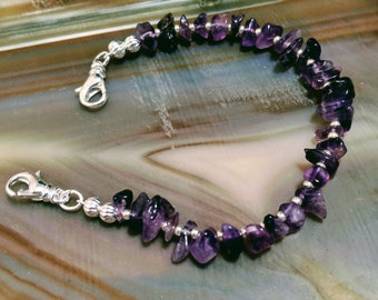 Amethyst purple gemstone medical alert bracelet available in five sizes