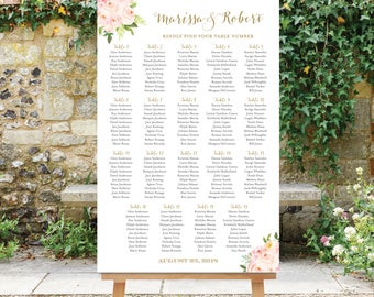 Wedding Seating Chart Floral Seating Chart Wedding Seating Plan Table Assignment Seating Chart Poster Blush Pink Flowers Gold The Bella