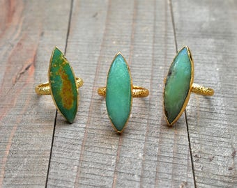Marquise Chrysoprase Statement Gold Ring/ Size 5.5, 6.5 Gold Setting/ Natural Chrysoprase Gemstone Ring/ Green Chrysoprase Ring (RGT14)