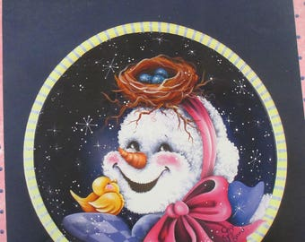 """Decorative used good condition 1999 painting book  Susan Pisoni """" A Snowmans Smile"""" tole painting how to 34 pages"""