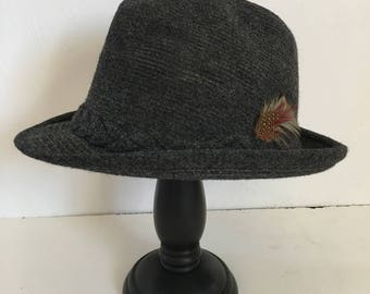 Vintage Stetson Wool Tweed Fedora Hat. Size 7 1/8. Union Label Made in USA