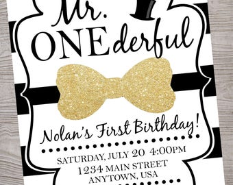 Mr ONEderful wonderful birthday party invitation printable digital file