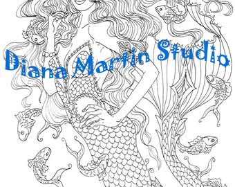My Own Shawl   digital stamp mermaid coloring book