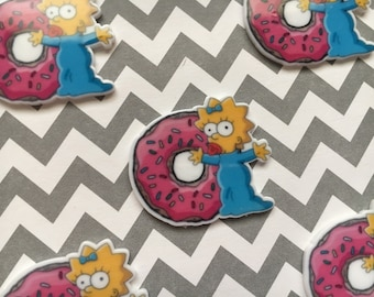 5pc The Simpsons, Maggie with a Donuts, Planar Flatback,