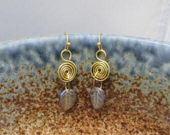 Brass & Leaf Earrings