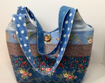 Handmade Totes  Bags Tote Bags   Handbags  Purses  Blue  Floral
