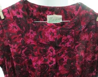 50's vintage Mad Men secretary dress, beautiful fuschia colors, size M, L, Berkshire label.