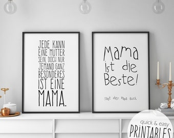 Mother's Day gift murals set of 2, print templates incl. gift tags, print yourself, poster, saying, family, mother's Day, grandma, Mama