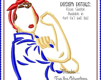 We Can Do It! Rosie the Riveter Sketch Digital Embroidery Machine Design File  4x4 5x7 6x10 8x12