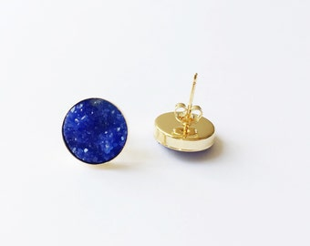 UK Blue Faux Druzy Posts - Vermeil Gold Posts - Royal Blue - Bridesmaid Earrings - Bridesmaid Jewelry -