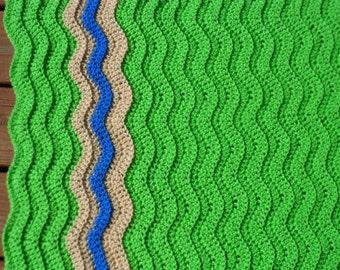 Stroller Blanket, Baby Boy Afghan, Crochet Boy Blanket, Chevron Afghan, Pram Item, Green Infant Item, Baby Stuff, Newborn Photo Prop