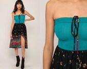 Boho Summer Dress + JACKET Hippie Strapless Midi Dress 70s Floral Semi-Sheer Bohemian Sun 1970s Sundress Teal Black Vintage Small